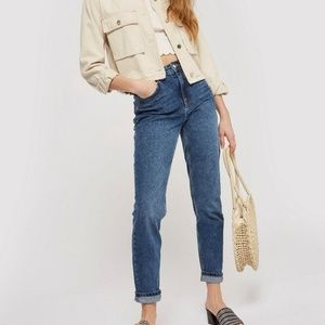 TOPSHOP Mid Blue Mom Jeans W26 NEW W/ DEFECT